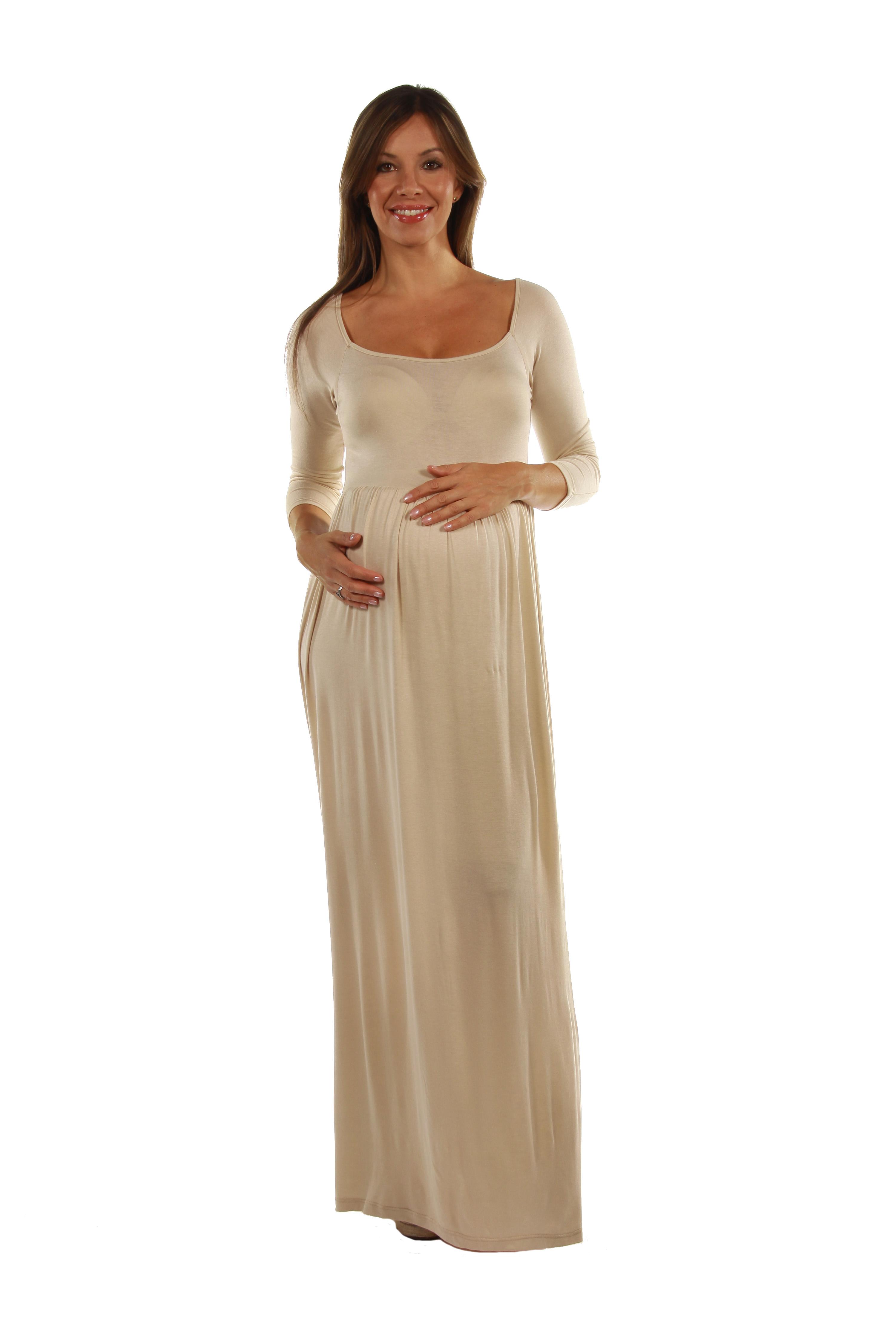 24  47 7 Comfort Apparel Empire Waist Long Sleeve Maternity Maxi Dress 0e68dd60498a