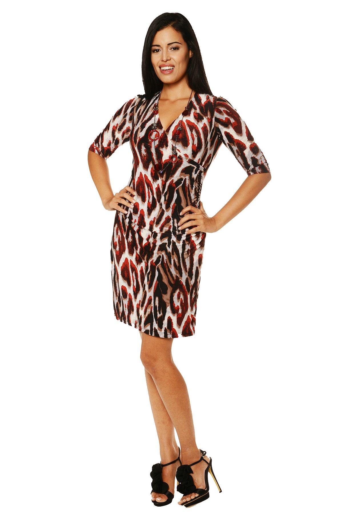 24/7 Comfort Apparel Women's Printed Faux Wrap Dress at Sears.com